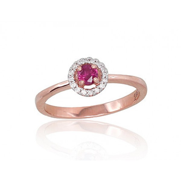 """Zelta gredzens ar briljantiem """"Burvība IX"""" no 585 proves sarkanā zelta"""