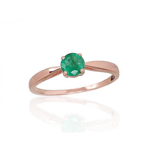 "Zelta gredzens ar smaragdu ""Klasika XIII"" no 585 proves sarkanā zelta"