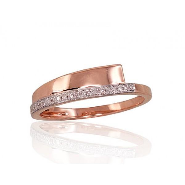 "Zelta gredzens ar briljantiem ""Hestija II"" no 585 proves sarkanā zelta"