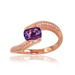 """Zelta gredzens ar briljantiem """"Komēta VIII"""" no 585 proves sarkanā zelta"""