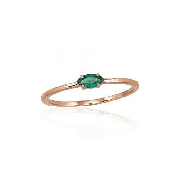 "Zelta gredzens ar smaragdu ""Versaļa"" no 585 proves sarkanā zelta"
