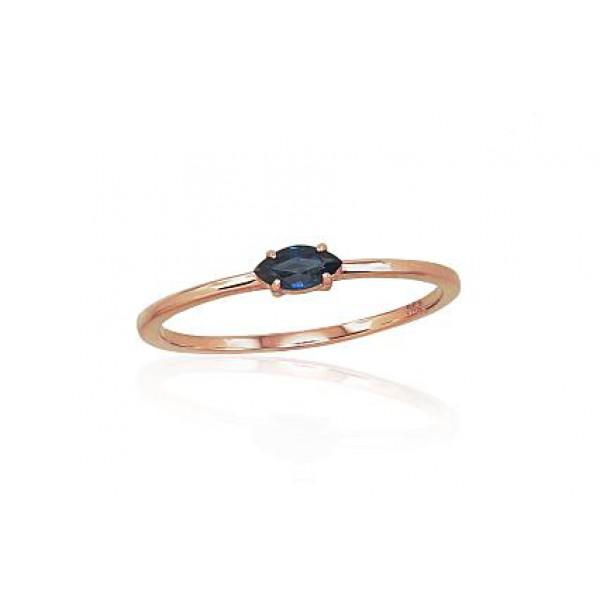 """Zelta gredzens ar safīru """"Versaļa"""" no 585 proves sarkanā zelta"""