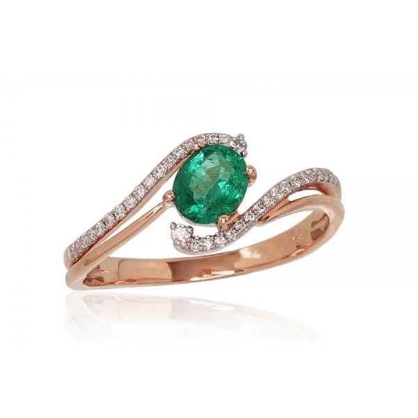 """Zelta gredzens ar briljantiem """"Komēta IX"""" no 585 proves sarkanā zelta"""