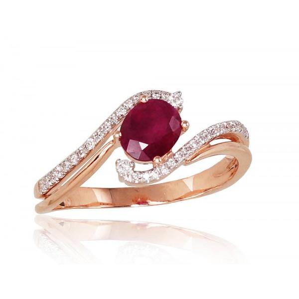 """Zelta gredzens ar briljantiem """"Komēta X"""" no 585 proves sarkanā zelta"""