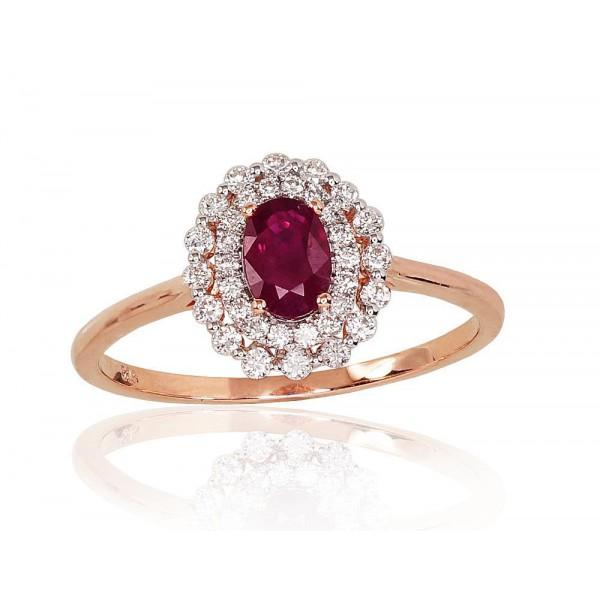 """Zelta gredzens ar briljantiem """"Romantika"""" no 585 proves sarkanā zelta"""