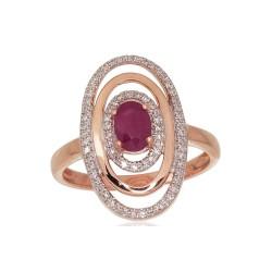 "Zelta gredzens ar briljantiem ""Emma III"" no 585 proves sarkanā zelta"