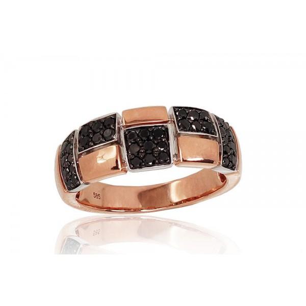 "Zelta gredzens ar briljantiem ""Otton II"" no 585 proves sarkanā zelta"