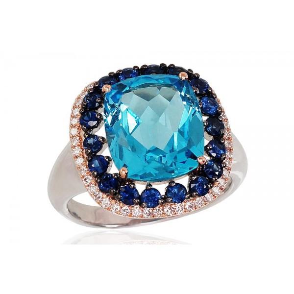 """Zelta gredzens ar briljantiem """"Impēriskais Topāzs"""" no 585 proves sarkanā zelta"""