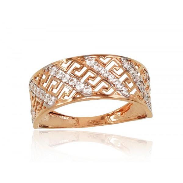 """Zelta gredzens """"Grieķu Motīvi VI"""" no 585 proves sarkanā zelta"""