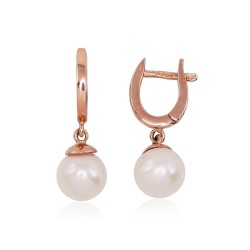 """Zelta auskari ar pērlēm """"Galoss"""" no 585 proves sarkanā zelta"""