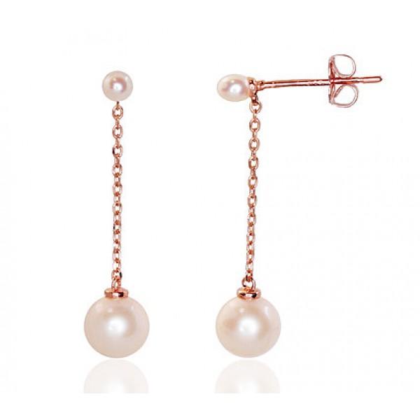 """Zelta auskari ar pērles """"Dvēseles Spogulis II"""" no 585 proves sarkanā zelta"""
