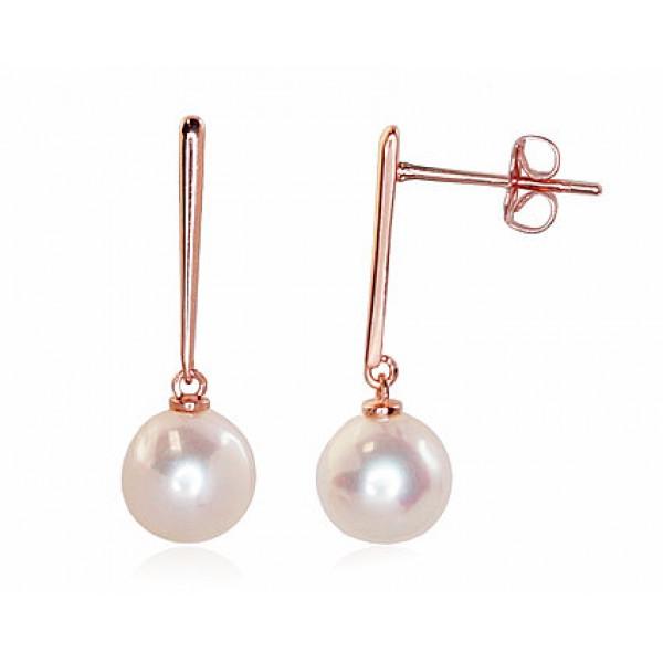 """Zelta auskari ar pērles """"Dvēseles Spogulis"""" no 585 proves sarkanā zelta"""
