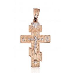 """Zelta pareizticīgo krustiņš """"Glāb un Pasargā V"""" no 585 proves sarkanā zelta"""