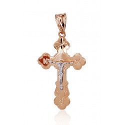 """Zelta pareizticīgo krustiņš """"Jēzus Krustā Sišana VI"""" no 585 proves sarkanā zelta"""
