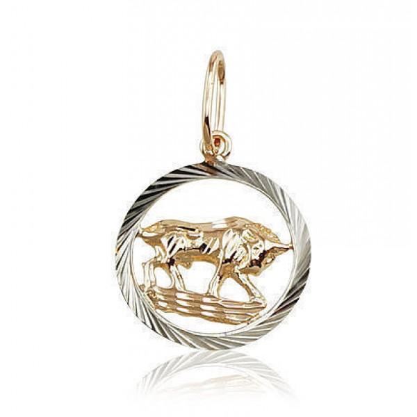 """Zelta kulons - zodiaka zīme """"Vērsis II"""" no 585 proves sarkanā zelta"""