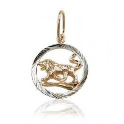 """Zelta kulons - zodiaka zīme """"Lauva II"""" no 585 proves sarkanā zelta"""