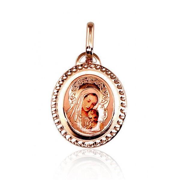 """Zelta kulons-ikona """"Svētā Jaunava Marija II"""" no 585 proves sarkanā zelta"""
