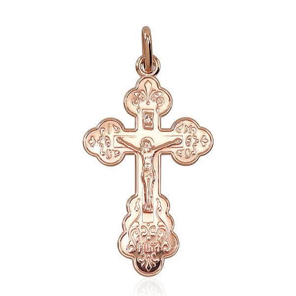 """Zelta pareizticīgo krustiņš """"Jēzus Krustā Sišana"""" no 585 proves sarkanā zelta"""