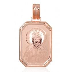 """Zelta kulons-ikona """"Svētais Nikolajs"""" no 585 proves sarkanā zelta"""