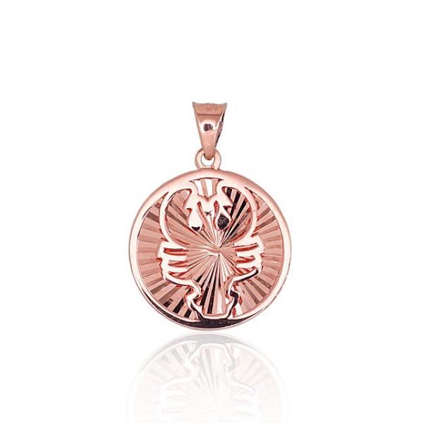 """Zelta kulons - zodiaka zīme """"Vēzis IV"""" no 585 proves sarkanā zelta"""