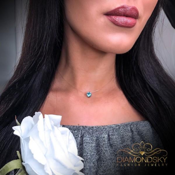 Neredzamā sudraba (Aquamarine Blue) kaklarota ar Swarovski™ kristālu