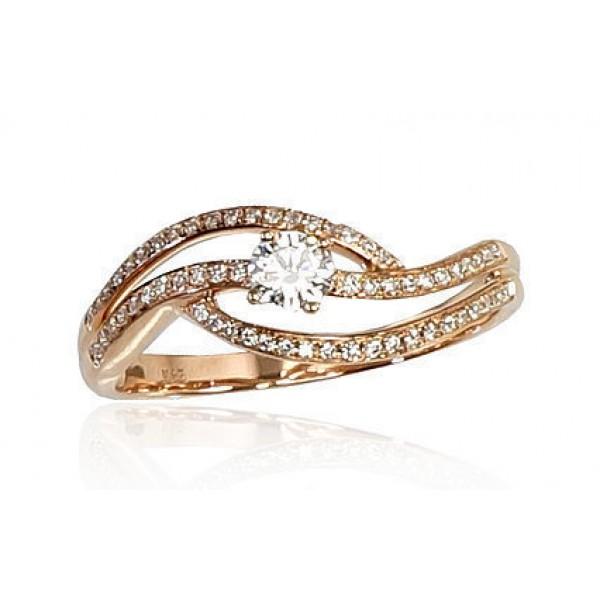 "Zelta gredzens ar briljantiem ""Zelta Vilnis VI"" no 585 proves sarkanā zelta"