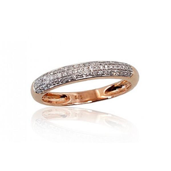 "Zelta gredzens ar briljantiem ""Melisandra"" no 585 proves sarkanā zelta"