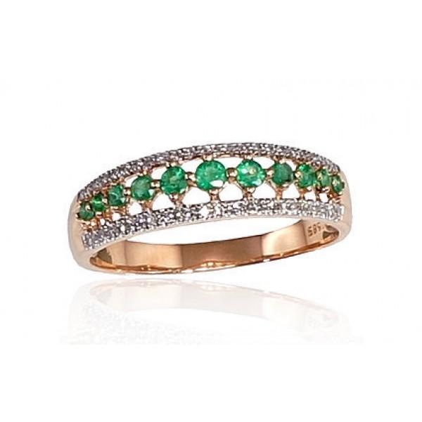 """Zelta gredzens ar briljantiem """"Kamēlija"""" no 585 proves sarkanā zelta"""