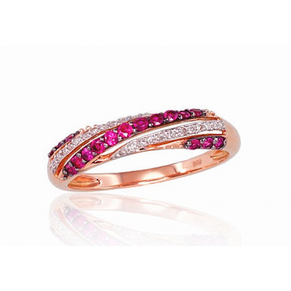 "Zelta gredzens ar briljantiem ""Roksana II"" no 585 proves sarkanā zelta"