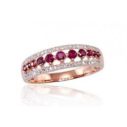 """Zelta gredzens ar briljantiem """"Kamēlija II"""" no 585 proves sarkanā zelta"""