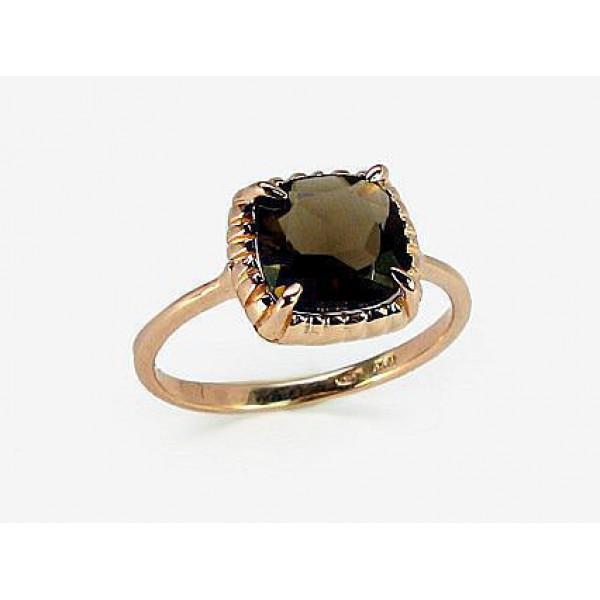"""Zelta gredzens ar dūmakaino kvarcu """"Sicīlija"""" no 585 proves sarkanā zelta"""