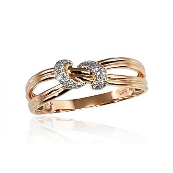 "Zelta gredzens ar briljantiem ""Omega III"" no 585 proves sarkanā zelta"