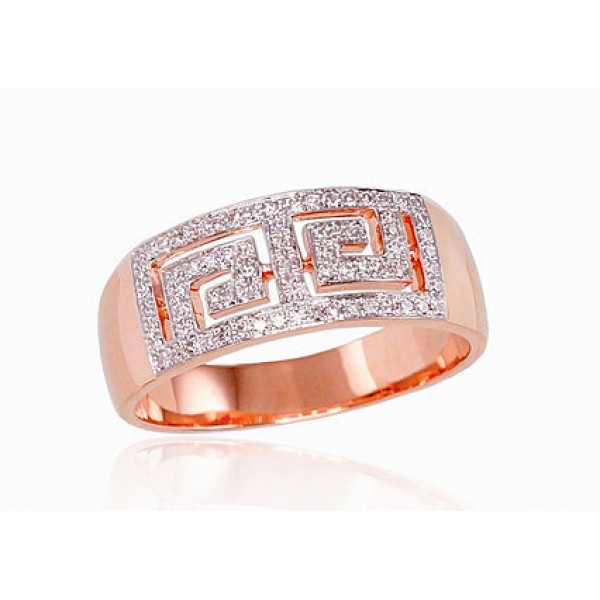 "Zelta gredzens ar briljantiem ""Roda"" no 585 proves sarkanā zelta"