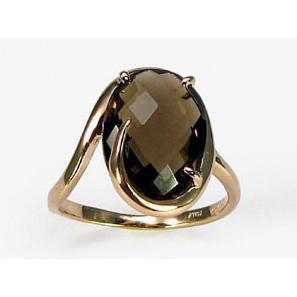 """Zelta gredzens ar dūmu kvarcu """"Palermo II"""" no 585 proves sarkanā zelta"""