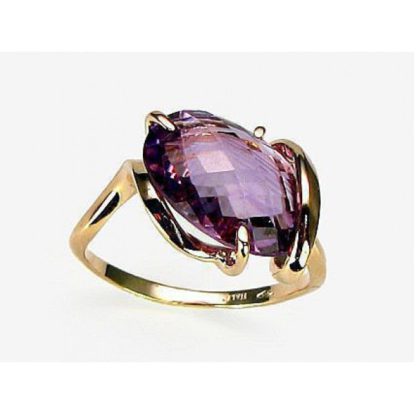 "Zelta gredzens ar ametistu ""Īsta Mīlestība III"" no 585 proves sarkanā zelta"