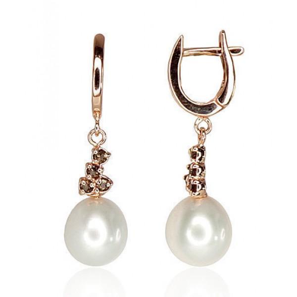 """Zelta auskari ar pērlēm """"Notika"""" no 585 proves sarkanā zelta"""