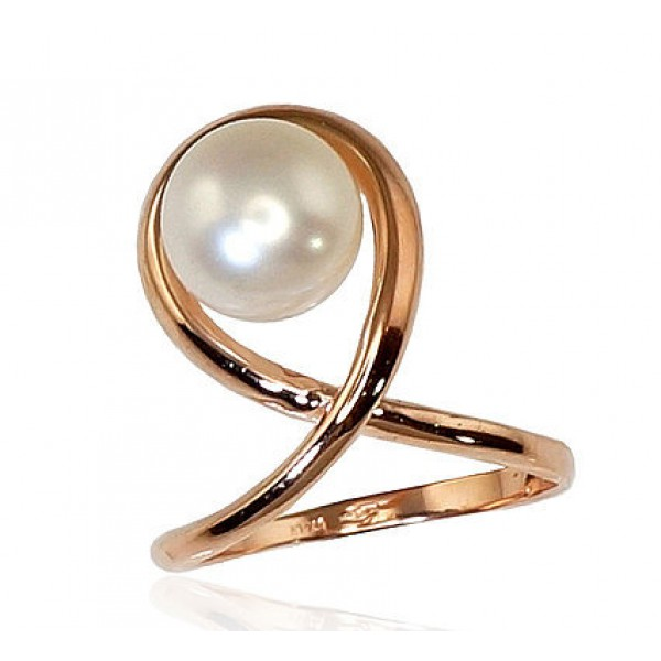 "Zelta gredzens ar pērlēm ""Galoss X"" no 585 proves sarkanā zelta"