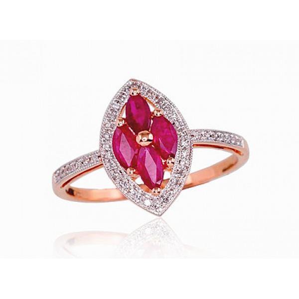 """Zelta gredzens ar briljantiem """"Aleksandrija"""" no 585 proves sarkanā zelta"""