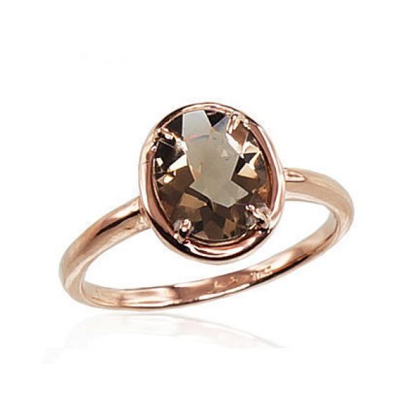 """Zelta gredzens ar dūmakaino kvarcu """"Diana III"""" no 585 proves sarkanā zelta"""