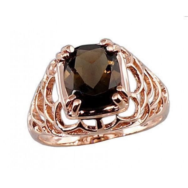 """Zelta gredzens ar dūmakaino kvarcu """"Sahāra"""" no 585 proves sarkanā zelta"""