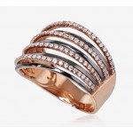 "Zelta gredzens ar briljantiem ""Zelta Raksts"" no 585 proves sarkanā zelta"