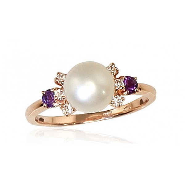"Zelta gredzens ar pērlēm ""Notika"" no 585 proves sarkanā zelta"