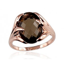 "Zelta gredzens ar dūmakaino kvarcu ""Īsta Mīlestība"" no 585 proves sarkanā zelta"