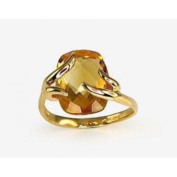 "Zelta gredzens ar citrīnu ""Īsta Mīlestība"" no 585 proves dzeltenā zelta"