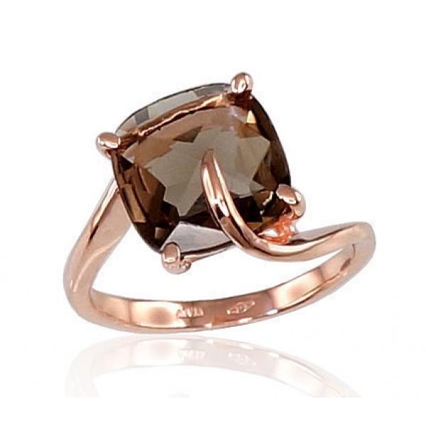 """Zelta gredzens ar dūmakaino kvarcu """"Brigantine II"""" no 585 proves sarkanā zelta"""