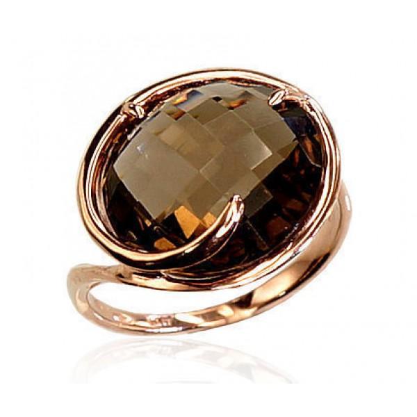 """Zelta gredzens ar dūmu kvarcu """"Kvarca Diženums II"""" no 585 proves sarkanā zelta"""