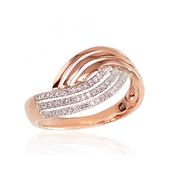 "Zelta gredzens ar briljantiem ""Zelta Vilnis"" no 585 proves sarkanā zelta"