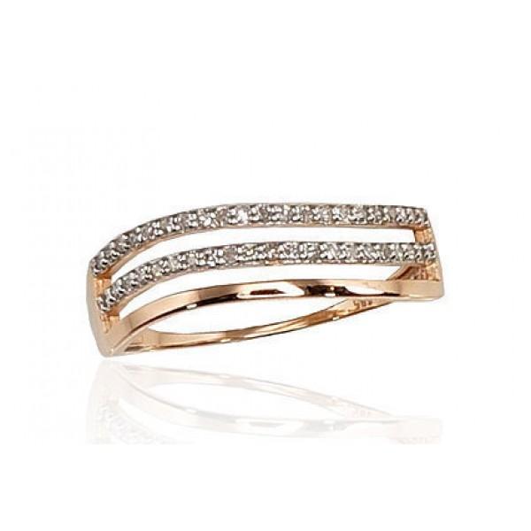 "Zelta gredzens ar briljantiem ""Zelta Vilnis IV"" no 585 proves sarkanā zelta"