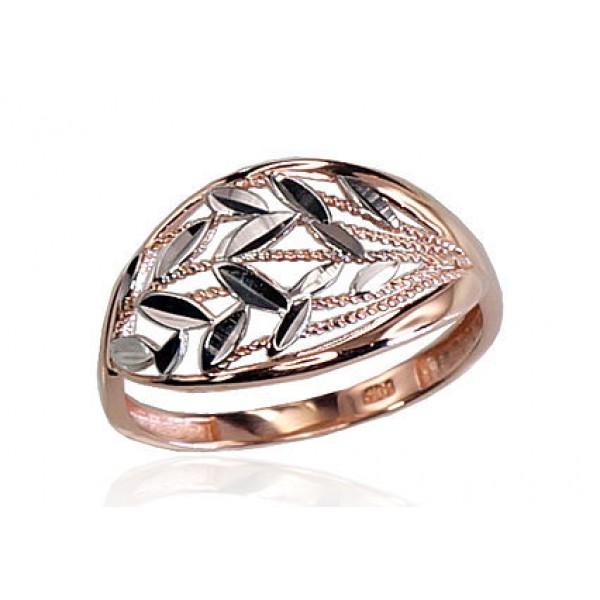 """Zelta gredzens """"Paparde"""" no 585 proves sarkanā zelta"""
