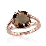 "Zelta gredzens ar dūmakaino kvarcu ""Brigantine"" no 585 proves sarkanā zelta"